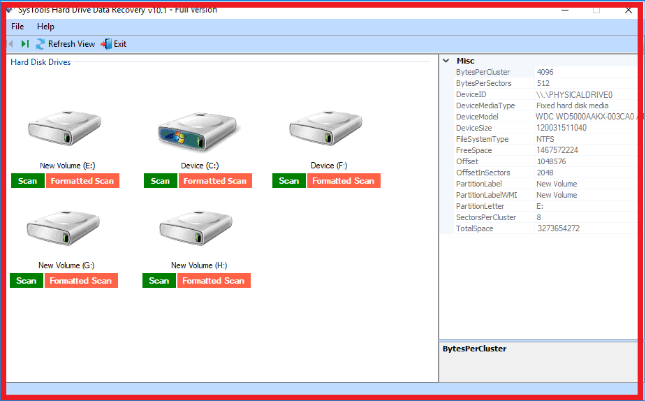 Interface of software